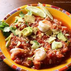 Gazpacho with Shrimp Ceviche and Avocado