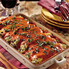 Chicken Cannelloni with Roasted Red Bell Pepper Sauce