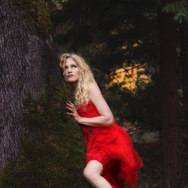 Crimson Nymph by Mary Wallis - People Portraits of Women ( fantasy, woman, blond, curls, forest, red dress )