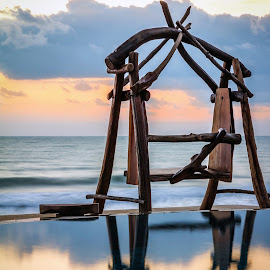 The Lonely Swing by YingTong Low - Artistic Objects Furniture ( reflection, pool, twilight, sea, sunrise, swing )