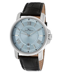 Lucien Piccard Men's Cilindro Light Blue Dial Black Genuine Leather LP-12358-012 Watch