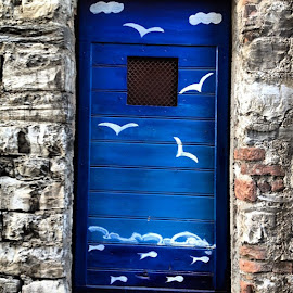 The blue door on the lake by Simone Salardi - City,  Street & Park  Street Scenes ( instagram, fineart, colours, diferente )