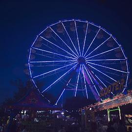 Fairgrounds  by Chrystal Olivero - City,  Street & Park  Amusement Parks ( lights, fairground, night, ferris wheel, city )