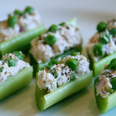Chicken Salad with Peas in Celery Ribs