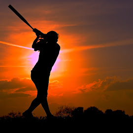 Katie's Sunset by Athletes In Focus - Sports & Fitness Other Sports ( female athlete, athletes in focus, sunset, silhouette, softball, athlete,  )