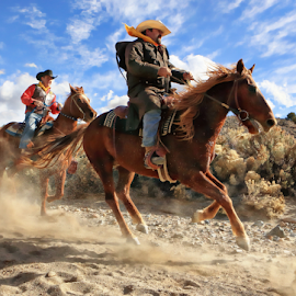 The Cowboys by Dennis Ducilla - Animals Horses ( clouds, red, nevada, cowboys, horse, action.. )