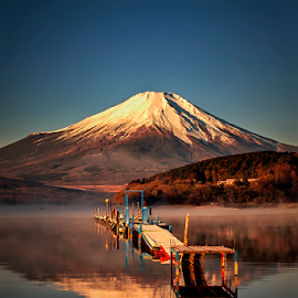 Fuji Reflection by Nyoman Sundra - Landscapes Sunsets & Sunrises ( mountain, fuji, lake, yamanaka, sunrise )