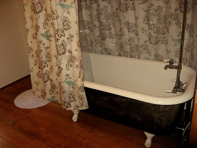 Antique clawfoot tub with shower