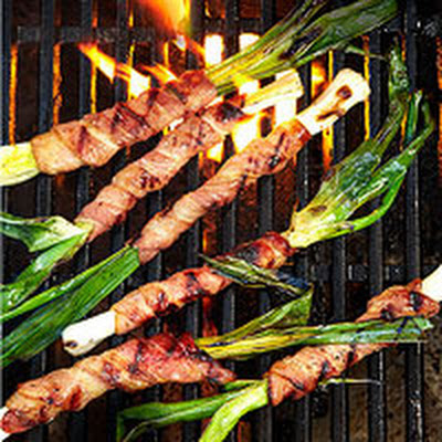 Grilled Bacon-Wrapped Leeks with Honey-Lemon Glaze