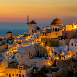 Amaizing Santorini by George Papapostolou - City,  Street & Park  Vistas ( george papapostolou, sunset, greece, travel, oia, nikon, santorini, island )