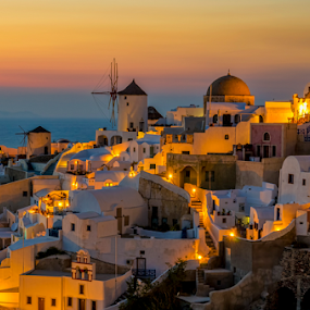 Amazing Santorini by George Papapostolou - City,  Street & Park  Vistas ( george papapostolou, sunset, greece, oia, travel, nikon, santorini, island,  )
