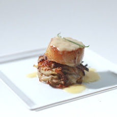 Spiced Seared Scallops with Potato-Pear Pancake and Champagne Beurre Blanc