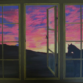 REAR WINDOW by Marilyn Brown - Painting All Painting ( sunset, acrylics, landscape, painting )