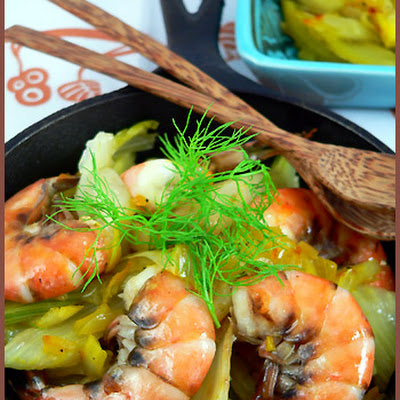 Saffron Shrimps Tajine with Confit Fennel