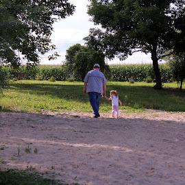 by April Grunwald - People Family ( walking, girl, nature, grandpa, granddaughter, cute, man, holding hands )