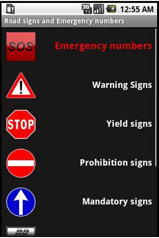 Road signs emergency numbers