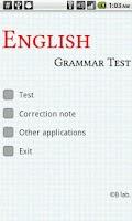 Screenshot of English Grammar Test