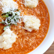 Roasted Tomato Basil Soup with Parmesan Spatzle