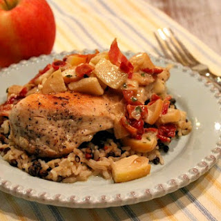 Cheddar- Stuffed Chicken Breasts with Apple- Bacon Pan Sauce