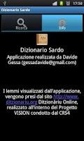 Screenshot of Sardinian dictionary