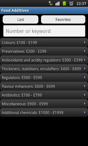 Food Additives E numbers