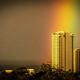 The Rainbow before the Storm by Petra Bensted - Landscapes Weather ( palm beach, gold coast, buildings, ocean, storm, rainbow )