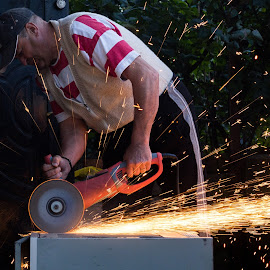 Sparks by Andi Topiczer - People Portraits of Men ( work, art, andi topiczer, motion, sparks, fire, portrait )