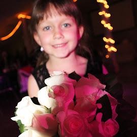 smile by Taryn Gillespie - Wedding Reception ( lights, love, tarynchantelphotography, girl, fav, wedding, pink, cute, flowers, young, photo,  )