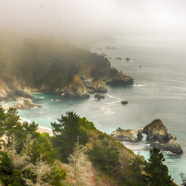 Landscape of Big Sur coastline by Kathy Dee - Landscapes Travel ( water, sur, california, sea, ocean, beach, coastline, big, landscape, rugged, rocks, coast )