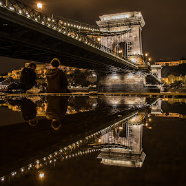 by Orha Balázs - Buildings & Architecture Bridges & Suspended Structures ( budapest, reflection, building, night, bridge, nikon )