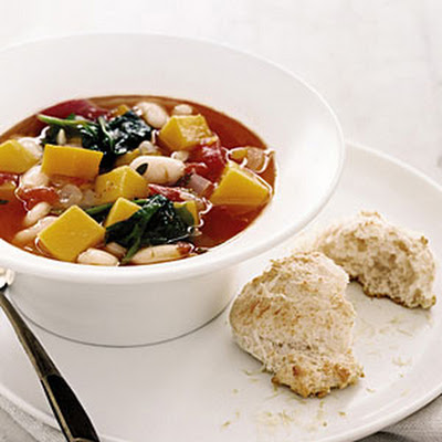 Squash and White Bean Soup with Parmesan Biscuits
