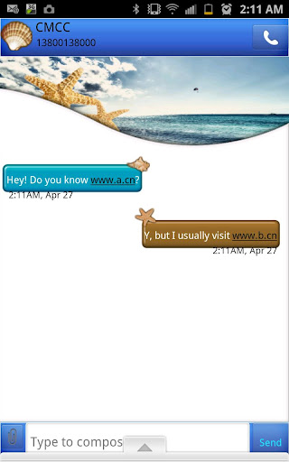 GO SMS - Beach Seashells