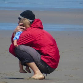 A Father's Love by Vonelle Swanson - People Family ( sand, nature, pacific ocean, oregon coast, beach )