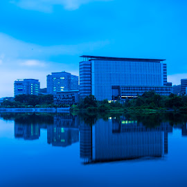 blue by Nazrul Harun - Buildings & Architecture Office Buildings & Hotels ( mirror, colour, building, blue, putrajaya, lake )