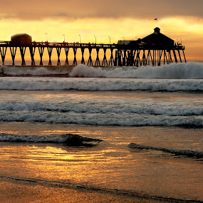 Sunset at Pier by Jeff Jones - Landscapes Beaches ( nature, waves, sunset, pier, beach )