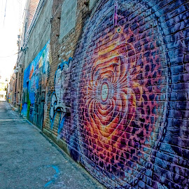 Art on the Wall by Barbara Brock - Buildings & Architecture Other Exteriors ( graffiti, alleyway, street art, clean alley, alley )