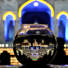 Reflections  by Harish Khanna - Artistic Objects Glass ( water, building, reflection, night, light )