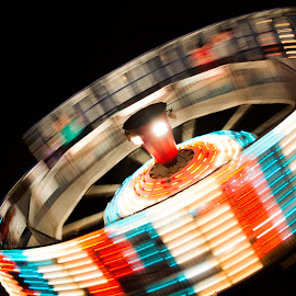 Carnival Rides  by Aubrey Roadruck - Abstract Light Painting ( porkfestival, red, light painting, amusement park, blue, carnival, white, carnival rides,  )