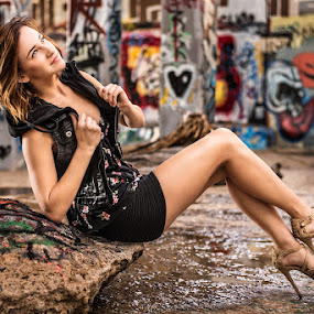 Dannen Marie by Charles Lugtu - People Portraits of Women ( san diego photographer, fashion photographer, san diego, fashion, glamour vandalism, wet floor, graffiti, heels, leather, , urban portrait, urban fashion, unique outfit )