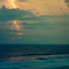 Summer Storm by Hayley Langan - Landscapes Weather ( lbi, clouds, lightning, summer, ocean, beach, nj )