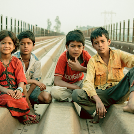 The Runners  by Jatin Malhotra - City,  Street & Park  Street Scenes ( child, satluj, kids, bridge, abandoned )
