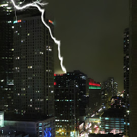 Chicago Lightening by Tricia Scott - Digital Art Things ( lightening, cityskape, lounge, chicago, bar, apartment building )