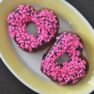 Chocolate Frosted Heart-Shaped Doughnuts