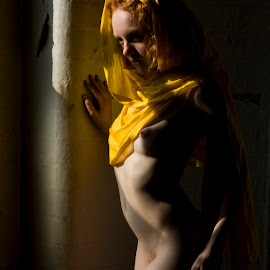 Ivory Flame with yellow scarf by Mark Wood - Nudes & Boudoir Artistic Nude ( natural light, nude, ginger, industrial, yellow )