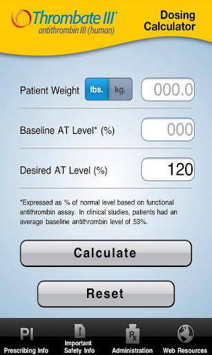 Thrombate III® Calculator