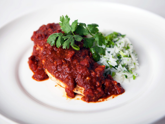 Chicken Mole with Green Rice Recipe | Yummly