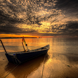 Ready to Fish by NC Wong - Transportation Boats ( clouds, pasir panjang, sunset, sea, beach, boat )
