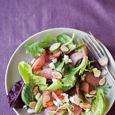 Shaved Rhubarb Salad with Almonds and Cheese