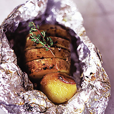 Garlic, Thyme & Anchovy Baked Potatoes
