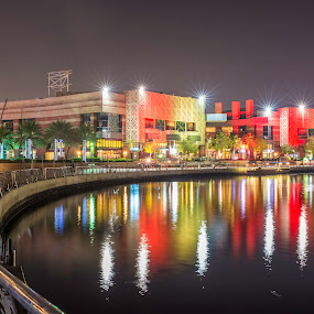 Dubai Festival City by Andy Arciga (www.arcigaandy.com) - City,  Street & Park  City Parks ( , city, night )
